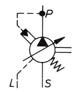 نماد پمپ با جابه جایی متغیر و کنتر فشار